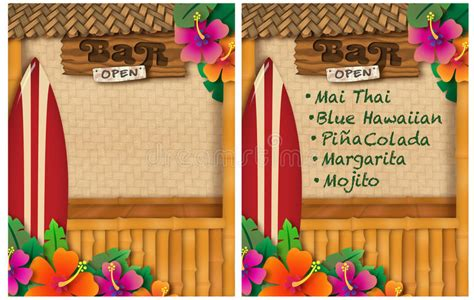 Tropical Party Stock Illustration Image 62695531 Tiki Bar Menu Template