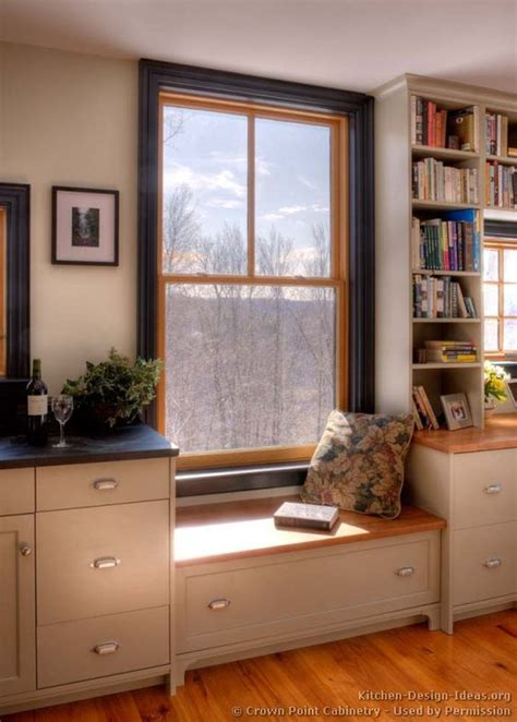 low kitchen window seat wood windows painted trim - Low Window Seat