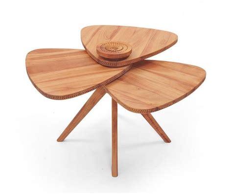 unique furniture design ideas blending modern tables blending wood and flower petal shape