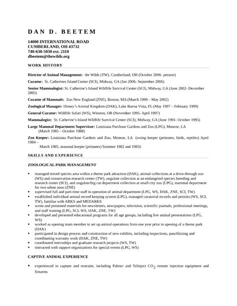 Zoo Worker Cover Letter by Sle Resume Zookeeper Resume Ixiplay Free Resume Sles