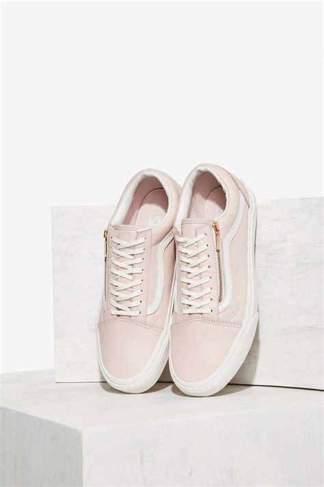 light pink low top vans lyst vans skool zip leather sneaker in pink