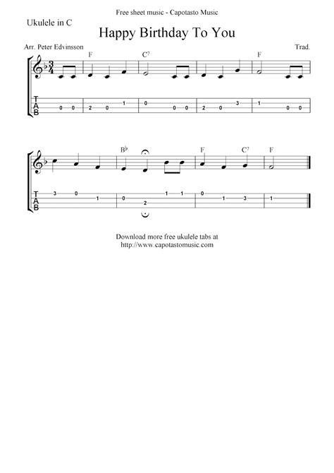 ukulele keyboard tutorial happy birthday to you free ukulele tab sheet music