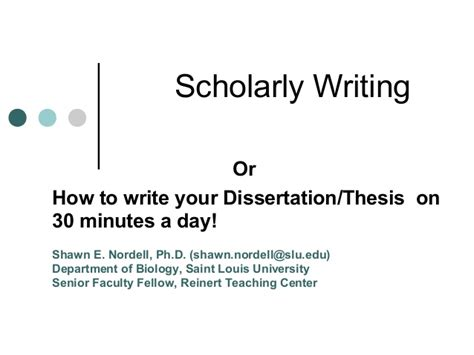 writing a scholarly paper scholarly writing workshop by shawn nordell