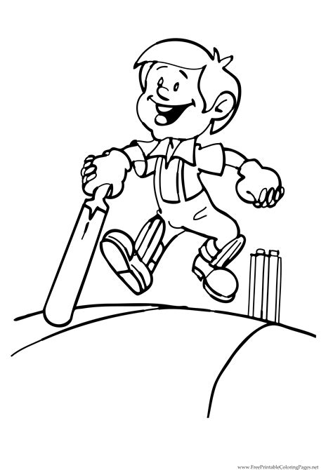 Cricket Colouring Pages Boy And Cricket Bat Coloring Kids by Cricket Colouring Pages