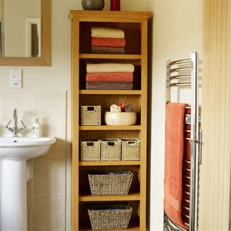 line shelves with wicker baskets bathroom decorating