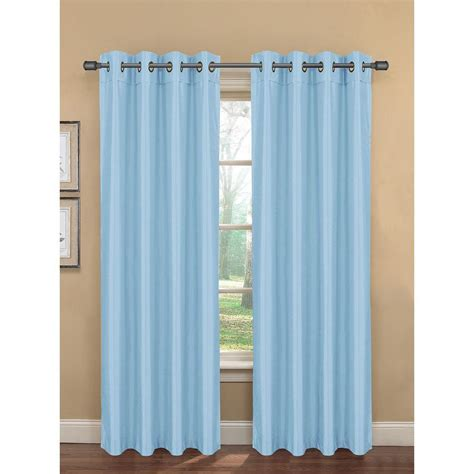 Blue Grommet Curtains Semi Opaque Bliss Faux Silk 84 In L Room Darkening Grommet Curtain Panel Pair Dusk