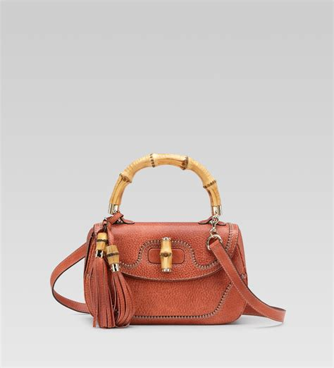 Gucci Single Bag Bn178 11 gucci new bamboo medium top handle bag in coral leather