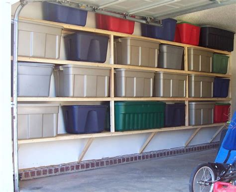 garage storage design garage colorful boxes white wall cement floor garage