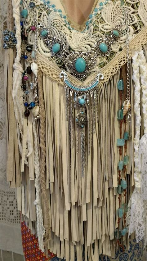 Handmade Boho Clothing - handmade ivory leather fringe shoulder bag hippie boho