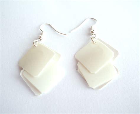White Earring white earrings made of recycled plastic bottle geometric