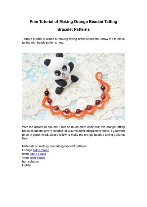 pattern maker orange county free tutorial of making orange beaded tatting bracelet