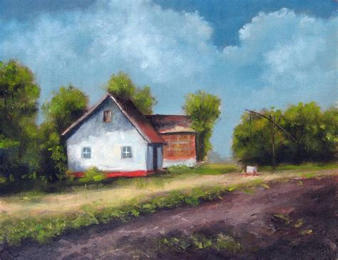 painting of houses farm house oil painting fine arts gallery original