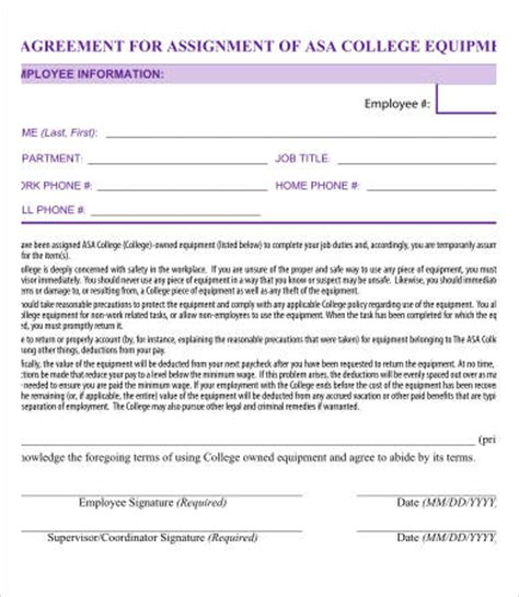 assignment agreement templates word  pages