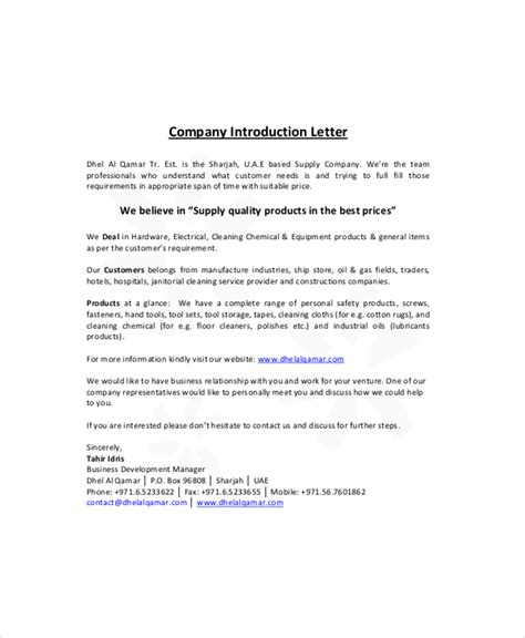 Electrical Business Introduction Letter exles of a company introduction letter letter of