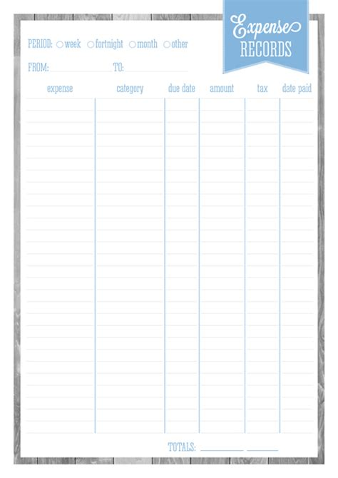 home organizer free printable expense records eliza ellis