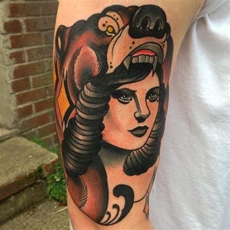tattoo new school bear arm new school women bear tattoo by mike stocklings