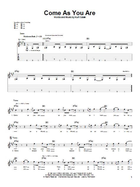 guitar tutorial nirvana come as you are guitar tab by nirvana guitar tab 20315