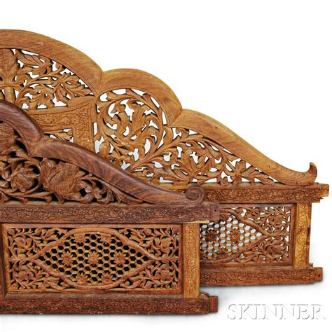 wood carving bed canopied carved wood bed frame sale number 2906t lot