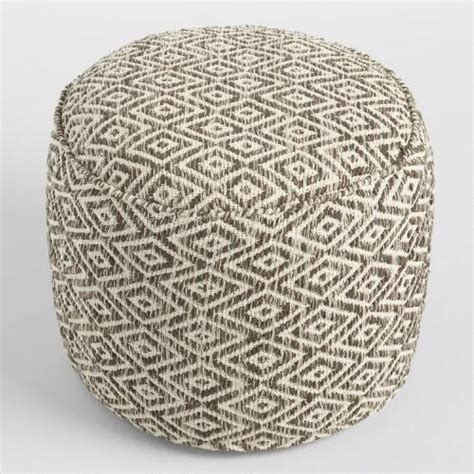 white floor pouf brown and white wool pouf world market