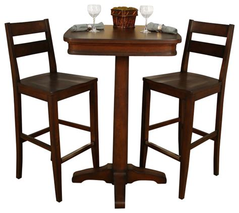 Small Indoor Bistro Table Set American Heritage 3 Pub Table Set With Barstools In Traditional