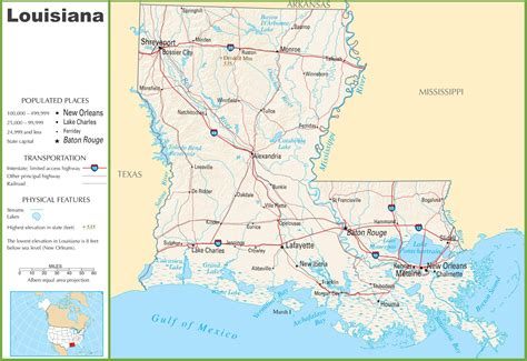 louisiana map cities and rivers louisiana highway map