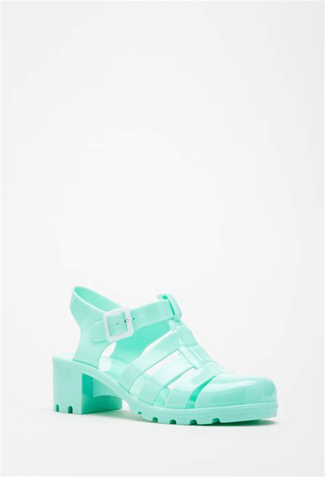 jelly sandals forever 21 lyst forever 21 classic jelly sandals in green