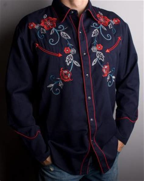 design a western shirt cowboy style shirt mens navy blue embroidered floral