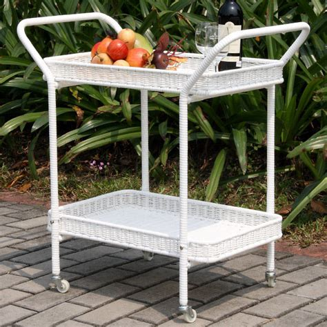 outdoor white wicker patio serving cart modern outdoor