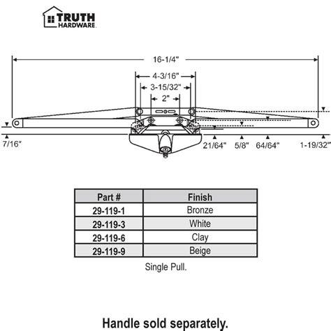 truth awning window hardware truth hardware truth awning operator 29 119 1
