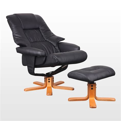 Real Leather Swivel Recliner Chair by New Real Leather Swivel Recliner Chair W Foot Stool