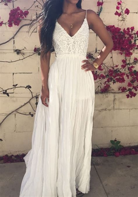 You Are Here Home Dresses White Lace Spliced Open Back Maxi Dress   outletpad white lace spliced open back maxi dress