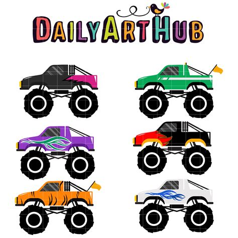 monster trucks clipart monster truck 5 clip art set daily art hub free clip