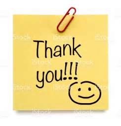 yellow thank you postit note with smiley stock photo