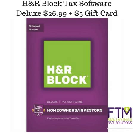 H R Block Gift Card Bonus 2017 - h r block tax software deluxe 26 99 5 gift card ftm