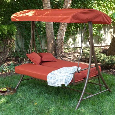 patio swing folds into bed 9 cool and cozy patio swing with canopy designs