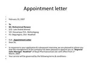 Appointment Letter Format As Per Factory Act Bsnsletters