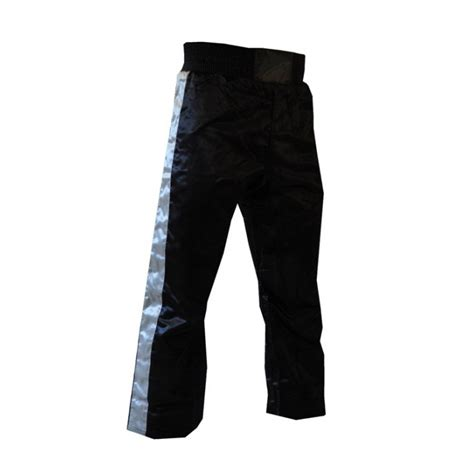 Stamina Shin Guard Gold satin kickboxing trousers black and silver