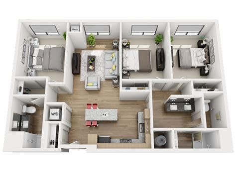 3 bedroom and 3 bathroom apartments c1 3 bedroom 2 bathroom skyvue apartments