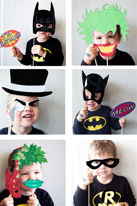 printable photo booth props batman batman party with free photobooth mask prop printables