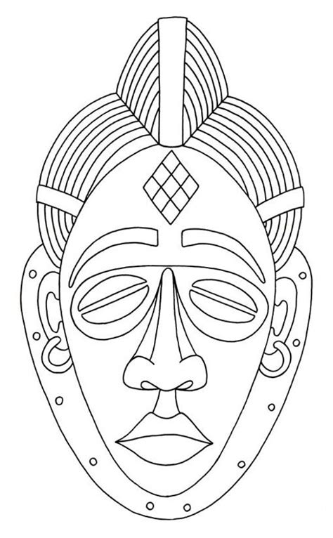 printable zulu mask african mask drawings this free clip art is designed to