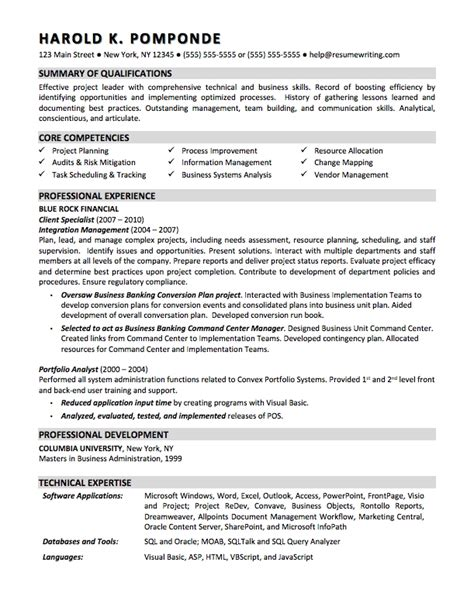 Resume Summary Exles Business Business Systems Analyst Resume Template Resume Builder