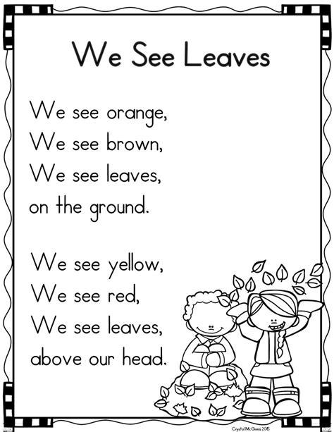 kindergarten poems mrs mcginnis zizzers poetry shared reading in
