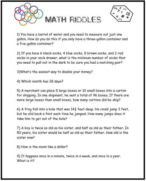 printable puzzles riddles free worksheets 187 printable brain teasers for middle