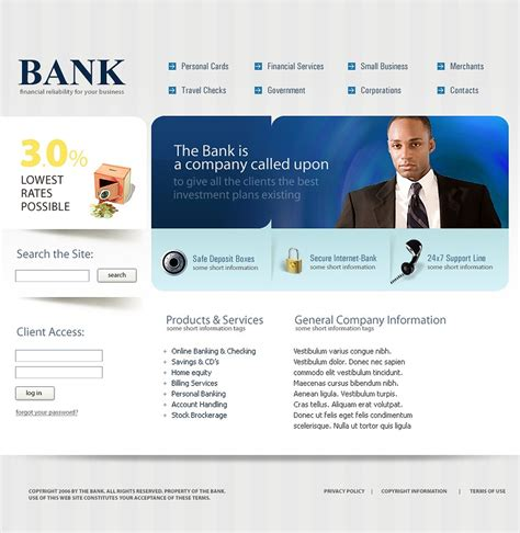 Banking Templates For A Website | bank website template web design templates website