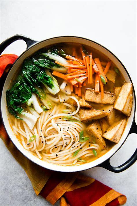 ginger miso udon noodles   spice tofu vegan
