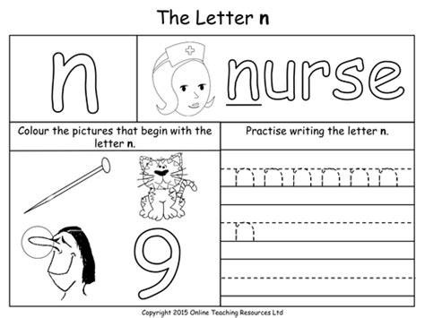 letter n worksheets letters of the alphabet teaching pack 24 powerpoint 1374