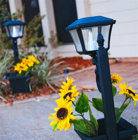 gama sonic solar lights plantern solar path light with planter gs 111pl