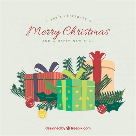 merry christmas gifts background vector