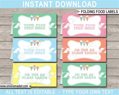 free food card templates for wedding food labels place cards
