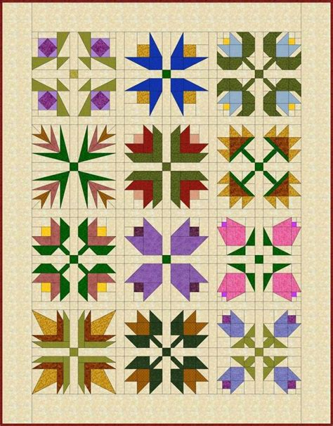 Flower Patchwork Quilt - pieced flowers quilt pattern quilts quilts quilts